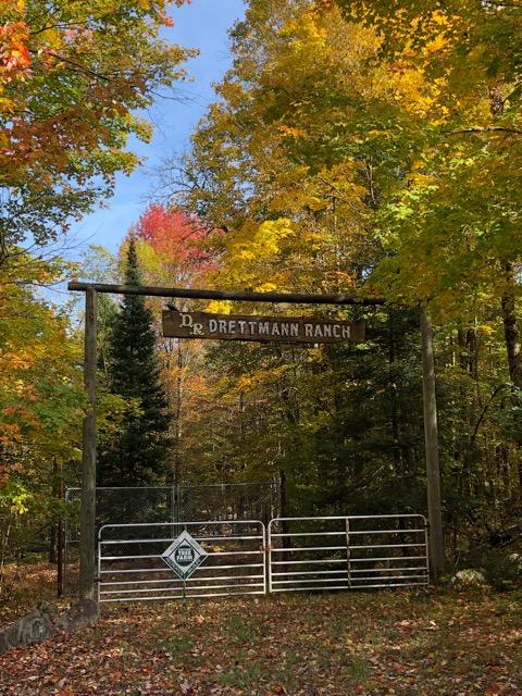 The Drettman Ranch sign over entrance gates at the ranch enclosure